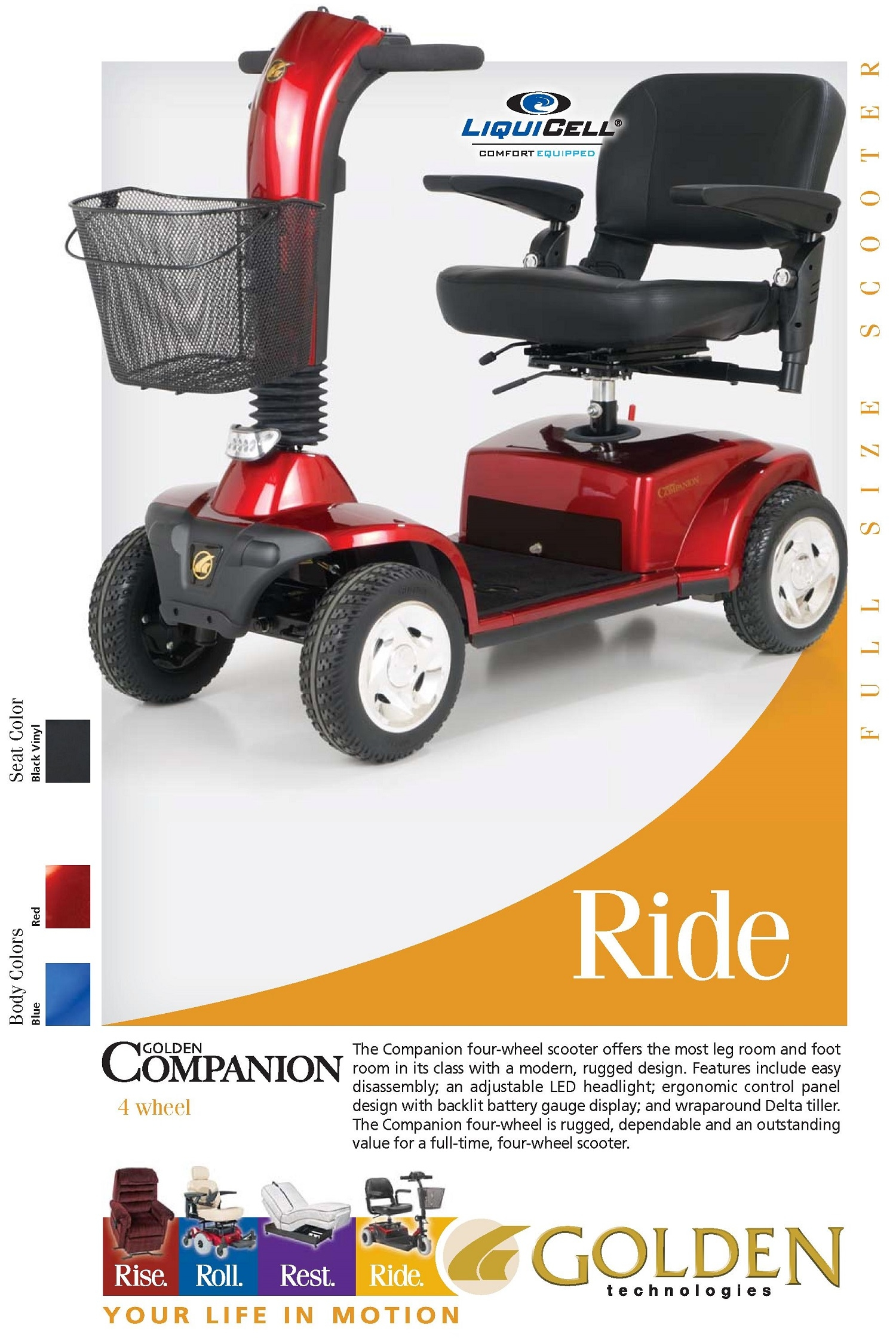 Companion Full Size GC440 Mobility Scooter 4-Wheel Golden Tech
