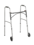 "Folding Steel Walker, Two Button with 5"" Wheels"